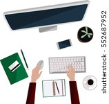 hand drawn office desktop with... | Shutterstock .eps vector #552687952