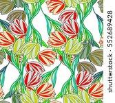 tulips illustration  seamless... | Shutterstock . vector #552689428