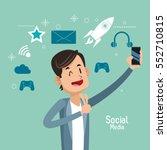 man up hand cellphone social... | Shutterstock .eps vector #552710815