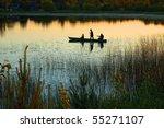 Silhouette Of Three Fishermen...