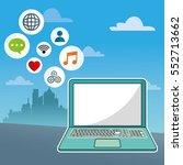 laptop social media... | Shutterstock .eps vector #552713662