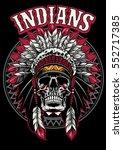 skull of native american warrior | Shutterstock .eps vector #552717385