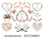 wedding floral hearts... | Shutterstock .eps vector #552720892