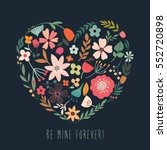 floral heart with decorative...