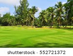 wavy green golf field on the... | Shutterstock . vector #552721372