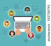 hand touch laptop social media... | Shutterstock .eps vector #552730792