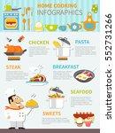home cooking flat infographics...   Shutterstock .eps vector #552731266