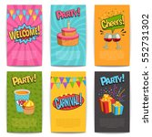 party comic posters set with... | Shutterstock .eps vector #552731302
