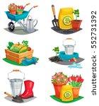 set of isolated garden design... | Shutterstock .eps vector #552731392