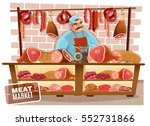 butcher and meat market with... | Shutterstock .eps vector #552731866