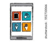 drawing smartphone social media ... | Shutterstock .eps vector #552733066