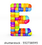 3d render letter e made with... | Shutterstock . vector #552738595