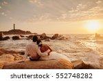 honeymoon couple relax on... | Shutterstock . vector #552748282
