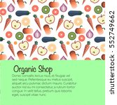 fruits and vegetables pattern... | Shutterstock .eps vector #552749662