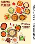 korean and balkan cuisine icon... | Shutterstock .eps vector #552749902