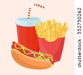 tasty french fries  cold drink... | Shutterstock .eps vector #552750262
