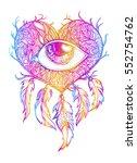 handmade talisman. dreamcatcher ... | Shutterstock .eps vector #552754762