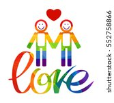 gay couple and rainbow hand... | Shutterstock . vector #552758866