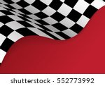 checkered flag flying on red... | Shutterstock .eps vector #552773992