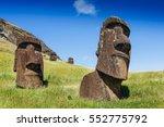 moai statues in the rano raraku ... | Shutterstock . vector #552775792