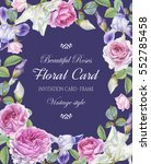 floral greeting card with a... | Shutterstock . vector #552785458