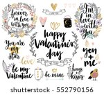 Stock vector valentine s day callygraphic floral set hand drawn vector illustration 552790156