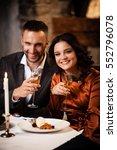 happy couple tasting delicious... | Shutterstock . vector #552796078