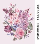 shabby garden watercolor spring ... | Shutterstock . vector #552799156