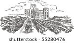 vintage   vineyard and castle ... | Shutterstock . vector #55280476