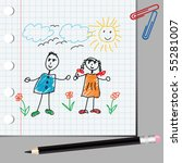 doodle kids on math page | Shutterstock .eps vector #55281007