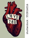 realistic heart drawing... | Shutterstock .eps vector #552816016