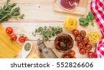 cherry tomatoes pasta  rosemary ... | Shutterstock . vector #552826606