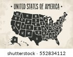 poster map of united states of... | Shutterstock . vector #552834112