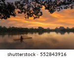 asia fishermen on boat fishing... | Shutterstock . vector #552843916