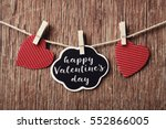 some red hearts hung with... | Shutterstock . vector #552866005