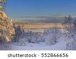 winter landscape and lake... | Shutterstock . vector #552866656