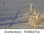 tracks in the snow in svandalen ... | Shutterstock . vector #552866716