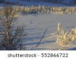 tracks in the snow in svandalen ... | Shutterstock . vector #552866722