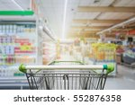supermarket aisle with empty... | Shutterstock . vector #552876358