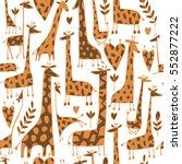 funny giraffes sketch  seamless ... | Shutterstock .eps vector #552877222