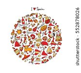 spain  icons collection. sketch ... | Shutterstock .eps vector #552878026