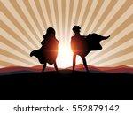 man and women superhero with... | Shutterstock .eps vector #552879142