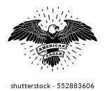 hand drawn eagle with ribbon...   Shutterstock . vector #552883606