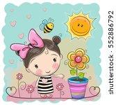 cute cartoon girl on the meadow ...   Shutterstock .eps vector #552886792