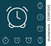 thin line clock  alarm icon on...
