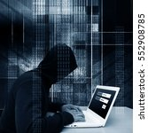 computer hacker or cyber attack ... | Shutterstock . vector #552908785