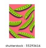 green pea pods on pink | Shutterstock .eps vector #55293616