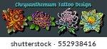 vector chrysanthemum bouquet... | Shutterstock .eps vector #552938416