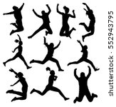 collection of jumping female... | Shutterstock . vector #552943795