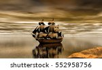 Pirate Ship With Small Waves I...